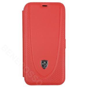 フェラーリ iPhone12 Pro Max レザー ブックタイプケース Off Track Perforated レッド FEOGOFLBKP12LRE|victorylap