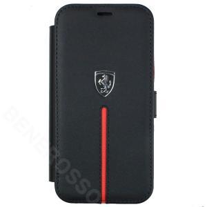 フェラーリ iPhone12 mini レザー ブックタイプケース Middle Stripe ブラック FEOSIFLBKP12SBK|victorylap