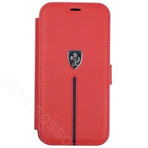 フェラーリ iPhone12 mini レザー ブックタイプケース Middle Stripe レッド FEOSIFLBKP12SRE|victorylap