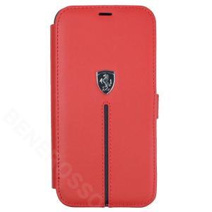 フェラーリ iPhone12 / 12 Pro レザー ブックタイプケース Middle Stripe レッド FEOSIFLBKP12MRE|victorylap