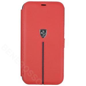 フェラーリ iPhone12 Pro Max レザー ブックタイプケース Middle Stripe レッド FEOSIFLBKP12LRE|victorylap