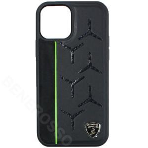 ランボルギーニ iPhone12/12 Pro レザー/アルカンターラ&カーボン バックカバー アヴェンタドール D12 グリーン LB-TPUPCIP12P-AV/D12-GN|victorylap