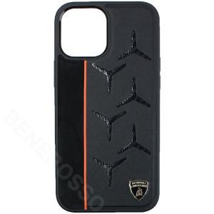ランボルギーニ iPhone12 Pro Max レザー/アルカンターラ&カーボン バックカバー アヴェンタドール D12 オレンジ LB-TPUPCIP12PM-AV/D12-OE victorylap