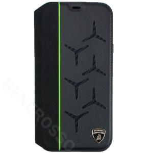 ランボルギーニ iPhone12 Pro Max レザー/アルカンターラ&カーボン ブックタイプ アヴェンタドール D12 グリーン LB-TPUFCIP12PM-AV/D12-GN victorylap