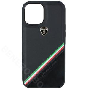 ランボルギーニ iPhone12 Pro Max レザー&アルカンターラ バックカバー ウラカン D11 ブラック LB-TPUPCIP12PM-HU/D11-BK victorylap