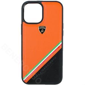 ランボルギーニ iPhone12 Pro Max レザー&アルカンターラ バックカバー ウラカン D11 オレンジ LB-TPUPCIP12PM-HU/D11-OE victorylap