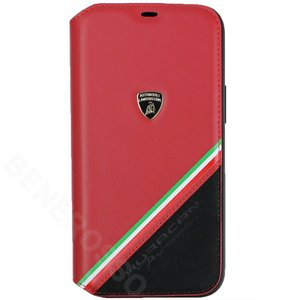 ランボルギーニ iPhone12 Pro Max レザー&アルカンターラ ブックタイプ ウラカン D11 レッド LB-TPUFCIP12PM-HU/D11-RD victorylap