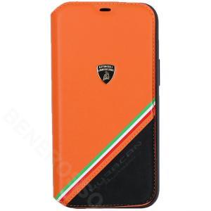 ランボルギーニ iPhone12 Pro Max レザー&アルカンターラ ブックタイプ ウラカン D11 オレンジ LB-TPUFCIP12PM-HU/D11-OE victorylap