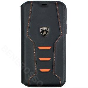 ランボルギーニ iPhone12/12 Pro レザー ブックタイプケース ウラカン D16 オレンジ LB-TPUFCIP12P-HU/D16-OE|victorylap