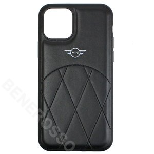 MINI iPhone11Pro PUレザー クロスラインステッチ ハードケース ブラック MIHCN58LECRBK victorylap