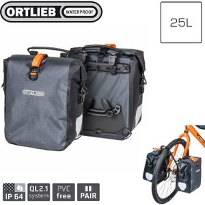ORTLIEB オルトリーブ バイクパッキングシリーズ グラベルパック スレート 25L ペア F9981  防水 自転車 マウンテンバイク|videoallcam
