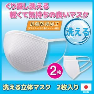 マスク 日本製 洗える立体マスク 2枚入り 洗える マスク 男女兼用 ウイルス対策 風邪 インフルエンザ 予防 メール便送料無料|vieshop