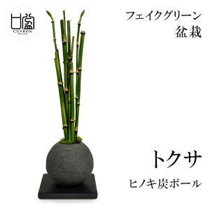 盆栽 トクサ 檜 炭 ボール 黒皿 CUPBON フェイクグリーン 造花 ミニ サイズ PRGR-1...