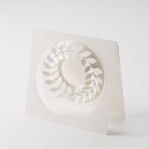 月桂樹 SS ペーパー リース ローリエ 伊藤千織 デザイン メール便対応 シンプル ホワイト PW02-SS ローレル 飾り インテリア 春 スプリングの画像