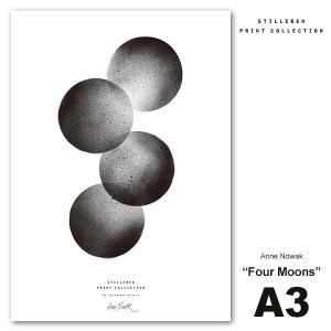 スティルレーベン STILLEBEN A3ポスター 297×420mm  Four Moonsl 4つの月  Anne Nowak    モノクロ 白黒 デンマーク 北欧 viewgarden