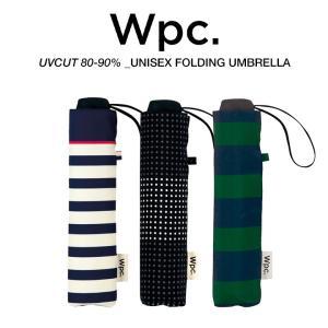 Wpc 折りたたみ傘 軽量 大きい58cm レディース メンズ 男女兼用 日傘 晴雨兼用傘 ボーダー柄 BASIC FOLDING UMBRELLA w.p.c ワールドパーティー MSM|villagestore