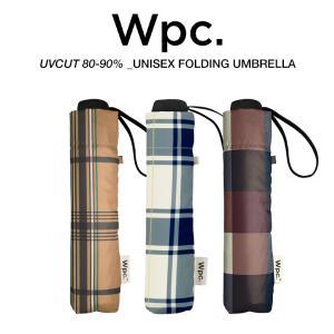 Wpc 折りたたみ傘 軽量 大きい58cm レディース メンズ 男女兼用 日傘 晴雨兼用傘 チェック柄 BASIC FOLDING UMBRELLA w.p.c ワールドパーティー MSM|villagestore