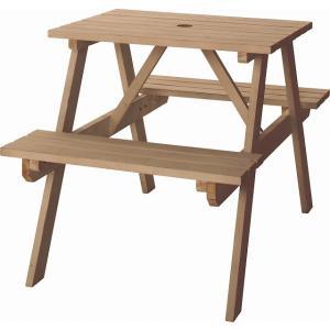 アウトドア テーブル ベンチ一体型 頑丈 木製  東谷 ODS-91LBR おしゃれ ガーデン・アウ...