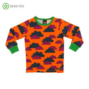 北欧 子供服 パジャマ 上下セット 雲柄 くも オレンジ CARROT|villervalla