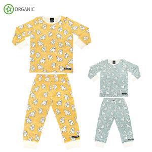 パジャマ ルームウェア 子供服 黄色 グレー どうぶつ 動物 白くま オーガニックコットン POLAR BEAR villervalla