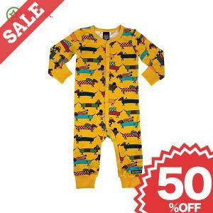 長袖ボディスーツ パジャマ 犬 ダックスフント柄 黄色|villervalla