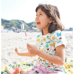 北欧 子供服 Tシャツ 半袖 キッズ 花柄 ちょうちょ 白 オーガニックコットン 綿100%|villervalla