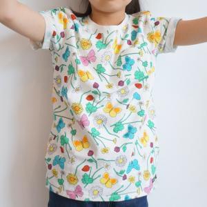 北欧 子供服 Tシャツ 半袖 キッズ 花柄 ちょうちょ 白 オーガニックコットン 綿100%|villervalla|02