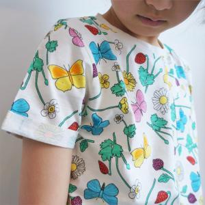 北欧 子供服 Tシャツ 半袖 キッズ 花柄 ちょうちょ 白 オーガニックコットン 綿100%|villervalla|03