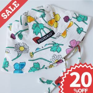 北欧 子供服 帽子 ひも付き キッズ 花柄 ちょうちょ 白 オーガニックコットン 綿100% |villervalla