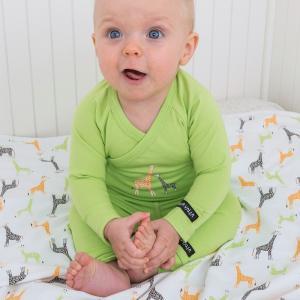 北欧 子供服 前あき長袖ロンパース ベビーキリン柄 緑 新生児 ギフト 出産祝い|villervalla
