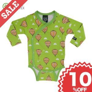 ベビー 長袖 ロンパース 赤ちゃん ベビー服 前あき 北欧 おしゃれ 気球柄 緑 オーガニックコットン 新生児 ギフト 出産祝い 10%OFF|villervalla