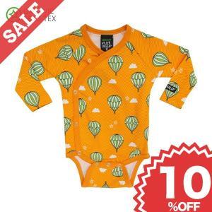 ベビー 長袖 ロンパース 赤ちゃん ベビー服 前あき 北欧 おしゃれ 気球柄 黄色 オーガニックコットン 新生児 ギフト 出産祝い 10%OFF|villervalla