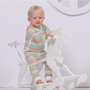 北欧 子供服 前あき長袖ロンパース ベビー レインボー 虹柄 ベビー オーガニックコットン 新生児 ギフト 出産祝い|villervalla