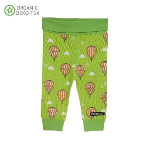 北欧 子供服 タイツ レギンス ベビー 気球柄 緑 オーガニックコットン 新生児 ギフト 出産祝い|villervalla