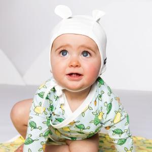 ベビー帽子 耳付き 白 キャップ オーガニックコットン 北欧 新生児 出産祝い|villervalla