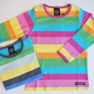 Tシャツ 長袖 子供服 キッズ おしゃれ 北欧 マルチストライプ ボーダー ピンク系 ブルー系 オーガニックコットン MULTI STRIPE WAIKIKI VENICE|villervalla