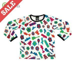 長袖Tシャツ プレゼント柄 リボン WRAPPED PRINT 子供服 クリスマスギフト|villervalla
