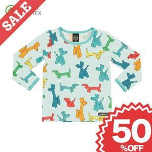 北欧 子供服 Tシャツ 長袖 キッズ 犬 バルーン柄 柔らか 水色 ピンク オーガニックコットン|villervalla
