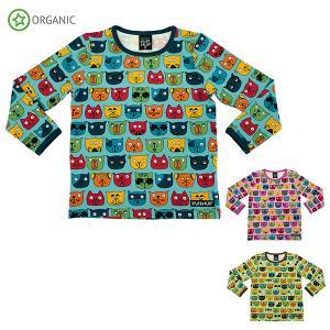Tシャツ 長袖 子供服 キッズ ねこ 猫 キャット ブルー ピンク 緑 オーガニックコットン COOL CATS PRINT villervalla