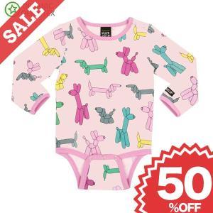 北欧 子供服 ロンパース 長袖 ベビー 犬 バルーン柄 柔らか 水色 ピンク オーガニックコットン|villervalla