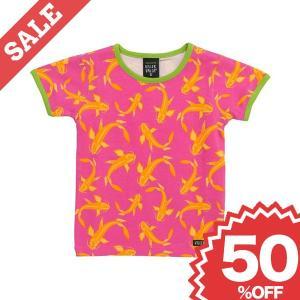 北欧 子供服 Tシャツ 半袖 鯉柄 フィッシュ ピンク オーガニックコットン 子供服 30%OFF|villervalla