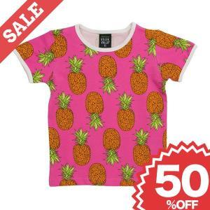 北欧 子供服 Tシャツ 半袖 パイナップル柄 ピンク オーガニックコットン|villervalla