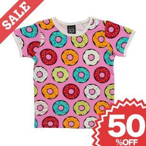 北欧 子供服 Tシャツ 半袖 ドーナツ柄 ピンク オーガニックコットン|villervalla