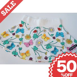北欧 子供服 スカート 花柄 ちょうちょ 白 オーガニックコットン 綿100%|villervalla