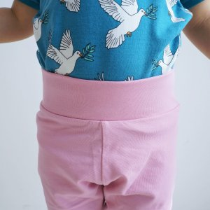 北欧 子供服 レギンス キッズ ストレッチ ゆったり 全4色 ブルー ピンク 緑 黄色 オーガニックコットン|villervalla|05