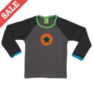 北欧 子供服 Tシャツ 長袖 黒×グレー NIGHT/COFFEE|villervalla
