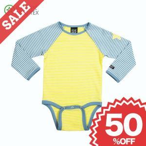 北欧 子供服 ロンパース 長袖 ベビー ストライプ オーガニック 綿100% 黄色 グレー|villervalla