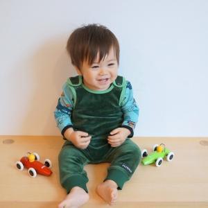 北欧 子供服 プレイスーツ ベロア 紫 緑|villervalla