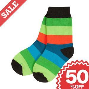 北欧 子供服 靴下 ストライプ 青×緑 赤×オレンジ 黒×ピンク|villervalla