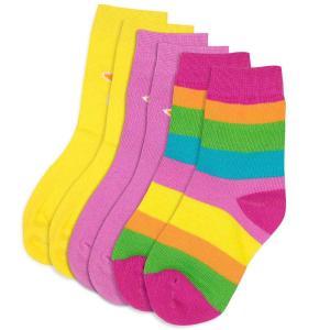 靴下 3足セット 親子お揃い おしゃれ 北欧 WIKIKI ピンク 黄色 ボーダー|villervalla